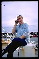 Port Stanley, Falkland Islands - W7EW on the phone - Feb 2002